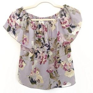 ARITZIA WILFRED PROMENER BLOUSE FLORAL LILAC